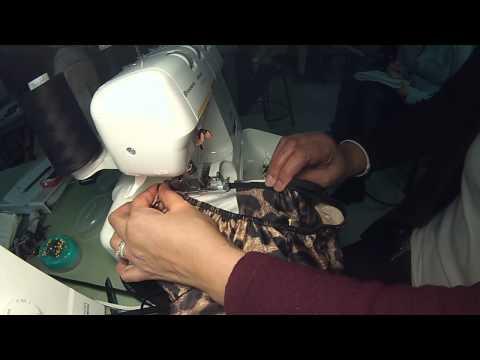 Swimsuit:  Turning the elastic to finish the edges