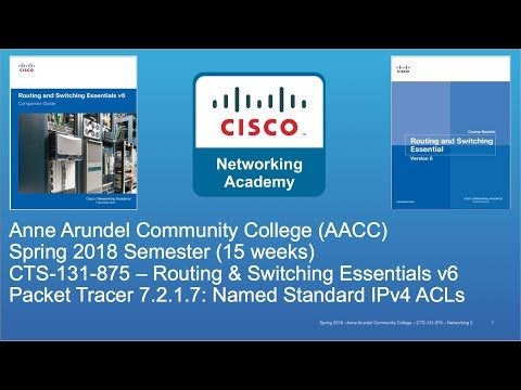 AACC - CTS-131 - CCNA R&S - Spring 2018 - PT 7.2.1.7 Named Standard IPv4 ACLs - Week #11