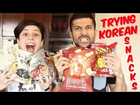 Indians Try Korean Snacks! 🍡🍥🌶