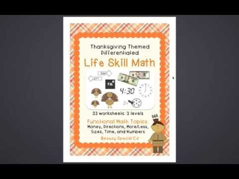 Math Life Skills Product Preview - Thanksgiving Themed