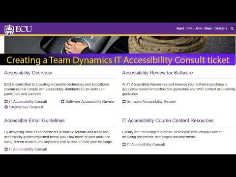 ECU Team Dynamix ticket with Accessibility Consultant