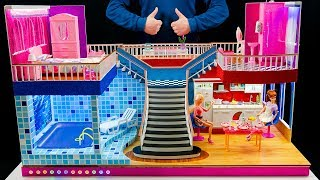 8 DIY Miniature Mansion  With  Rooms! Dollhouse ~ Barbie Crafts Bedroom and swimming pool, backlit!