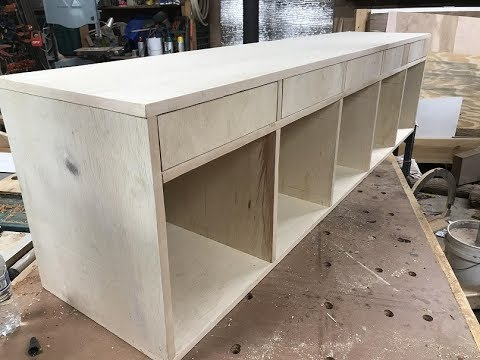 Bench with 5 cubbys and 5 drawers