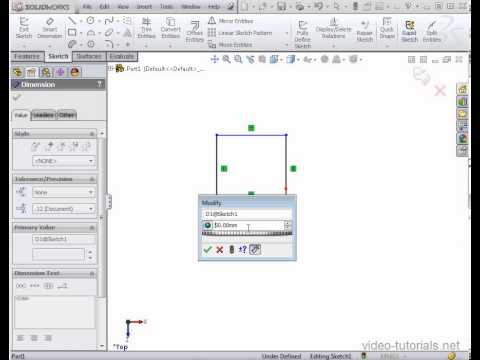 SolidWorks Tutorial - How to dimension using equations and variables in SolidWorks 2012