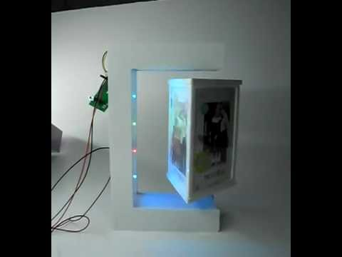 Triangle shape with 3 faces, Magnetic floating photo frame/magnetic levitating picture frame
