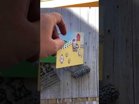Handmade Tri-Fold Lawn Fawn Hay There Birthday Card