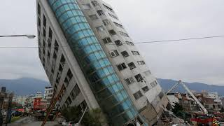 Yun Men Tsui Ti commercial building tilted in downtown Hualien, Taiwan, after earthquake