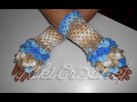 Crochet Crocodile Stitch Fingerless Gloves