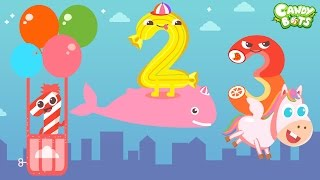 Candy Numbers 123 Video Cartoon Part 2/2 (Candybots) - Count 1 to 10 Number for Kids