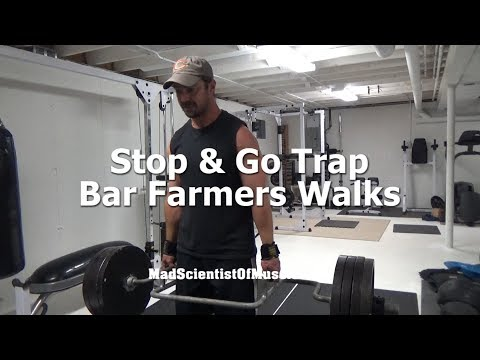Stop & Go Trap Bar Farmers Walks - great loaded carry for small spaces