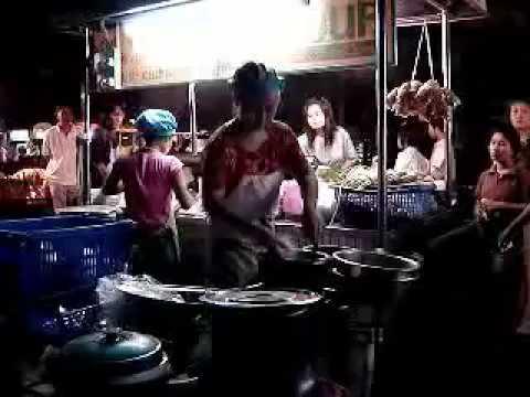 Som Tam (Papaya Salad) at Night Market in Thailand