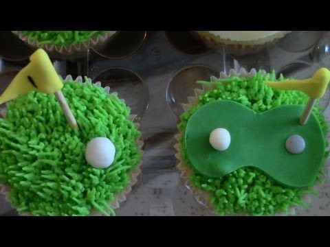 Father's Day Golf Themed Cupcakes, Golf Decorations for Cupcakes out of Fondant