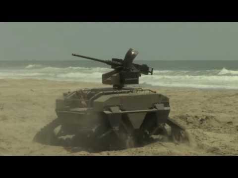 US Navy machine gun robot (b-roll)