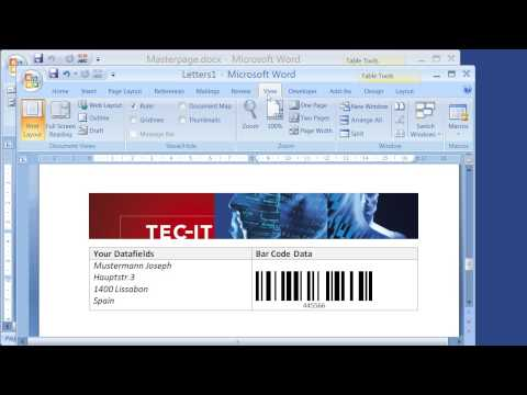 Create Barcode Serial Letters with Word 2007 and TBarCode SDK