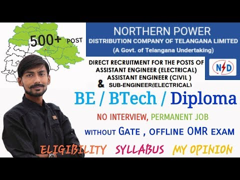 TSNPDCL RECRUITMENT 2018 | AE – 68 POST | SUB. ENGINEER – 497 POST |BE/BTECH/DIPLOMA|