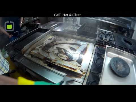 High temperature griddle cleaning  - Grill Hot & Clean