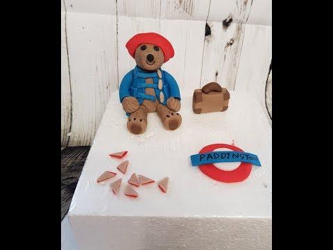 paddington Bear and accessories gumpaste cake topper tutorial