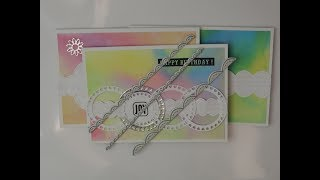 Card Making using Aliexpress Border Dies and Stamps 3 Cards with Ink Background using Memento Ink