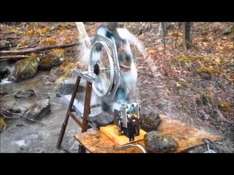 Waterwheel Homemade generator all from scraps.