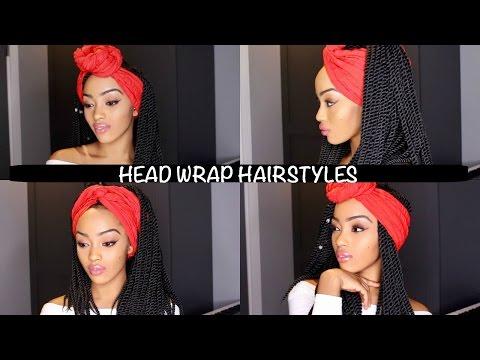 EASY HEAD WRAP INDIVIDUAL CROCHET BRAIDS HAIRSTYLES | SENEGALESE TWIST AND BOX BRAIDS | NO CORNROWS