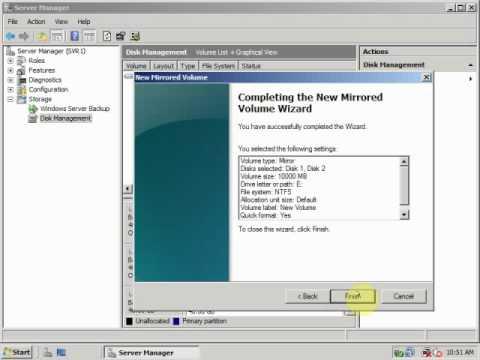 How create Mirrored Volume in Windows Server 2008?. TimeNet CpocLab Training Videos