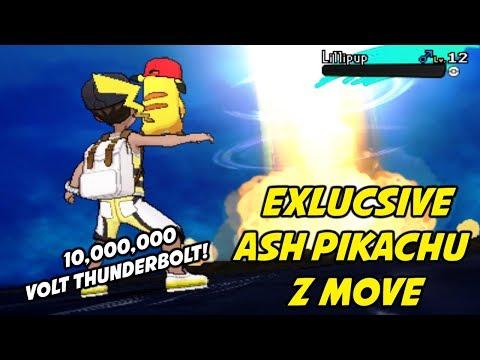 EXCLUSIVE Ash Pikachu Z Move - 10,000,000 Volt Thunderbolt! Pikashunium Z Crystal