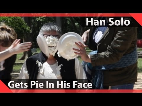 Han Solo Cosplayer Gets Pies Thrown In His Face