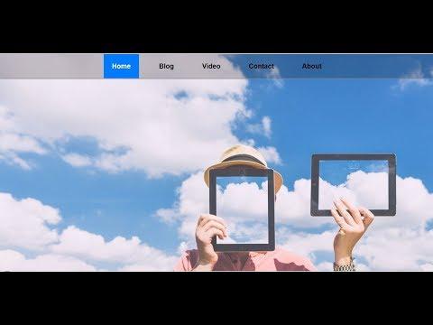Simple transparent navigation menu bar using html and css ..