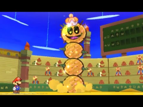 Paper Mario: Sticker Star Walkthrough - W2-5 Drybake Stadium / Tower Power Pokey Boss Fight