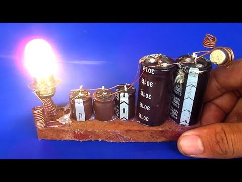 Free energy project easy 2018 - How to make free energy capacitor with light bulbs