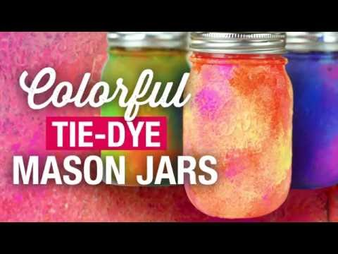 How to Make DIY Colorful TIE DYE Painted Mason Jars (Galaxy Effect)