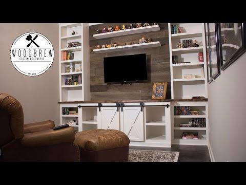 How To Make A Sliding Barn Door Entertainment Center | Faux Barn wood & Floating Shelf