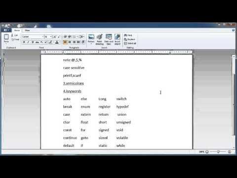 C Language Tutorials In Telugu-(comments,keywords,identifiers)