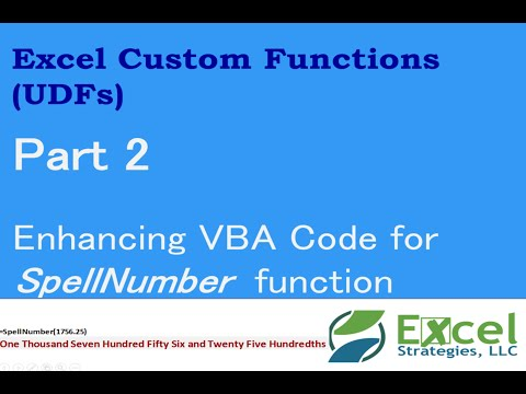 Enhancing Excel Custom Function (UDF) to spell a number, using VBA