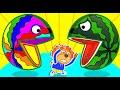 Lion Family To Make Rainbow Pacman Crazy Cartoon For Kids