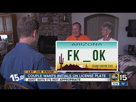 Should FK_OK be allowed on a license plate?