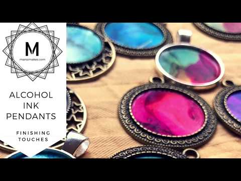 Alcohol Ink Pendants with Resin Domes