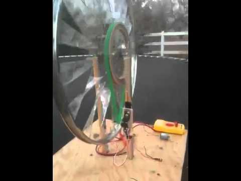 Bicycle wheel windmill power generator, STEM fair
