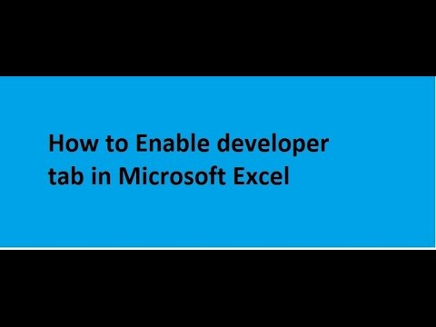 How to Enable Developer tab in Microsoft Excel