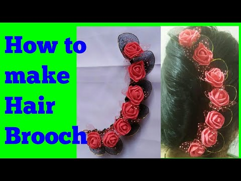 How to make Hair brooch / simple stocking fome flowers bridal wedding hair brooch