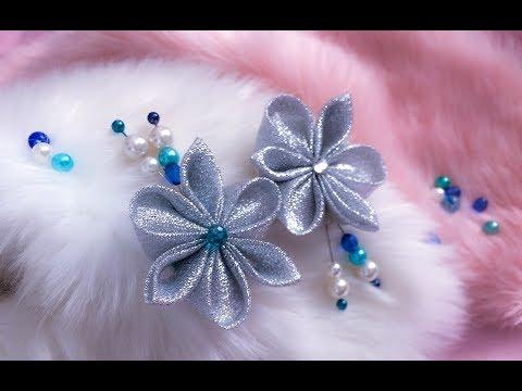 DIY: Kanzashi flower / Brooch with silver glitter ribbon