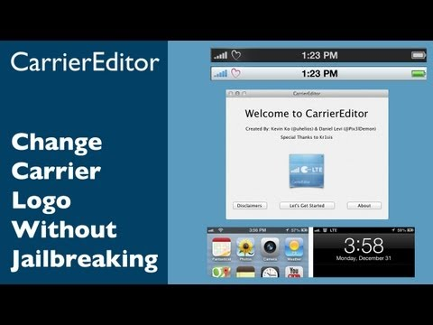 How to change Carrier Logo without Jailbreak using CarrierEditor