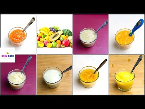 7 Fruit Puree for 4+ & 6+ Months Baby | How to Make Fruit Puree for Baby