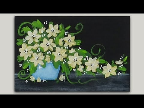 Acrylic Painting Pale Yellow Flowers in a Blue Pot - Miniature 4