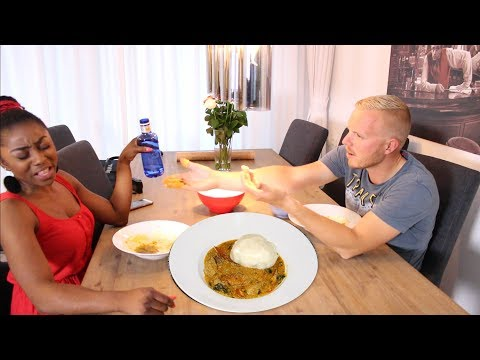 JACK TRYING TO SWALLOW NIGERIAN OKRO SOUP & POUNDED YAM WITH OKRA