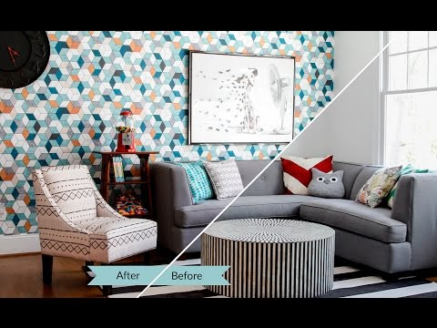 AMAZING Room Makeover with Spoonflower's Woven Wallpaper   Spoonflower