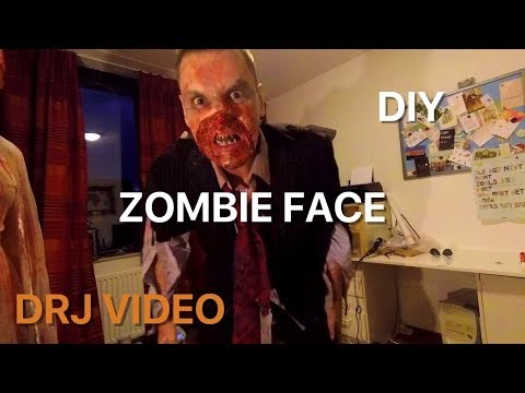 Zombie face Halloween tutorial: cheap, easy and fast DIY costume.
