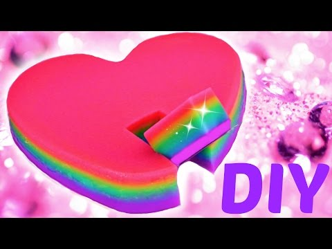 How To Make Rainbow Heart Shaped Pudding Valentine's Day Dessert Idea DIY