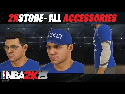 NBA 2K15 - All Accessories, Sleeves, Hats, Tattoos and Knee pads (Outfit Showcase)