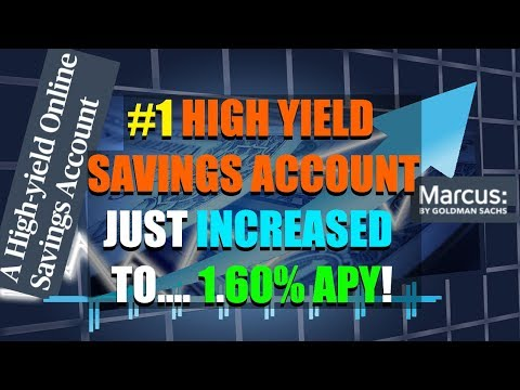 MARCUS BY GOLDMAN SACHS - INCREASED THEIR HIGH YIELD SAVINGS ACCOUNT TO 1.60%!